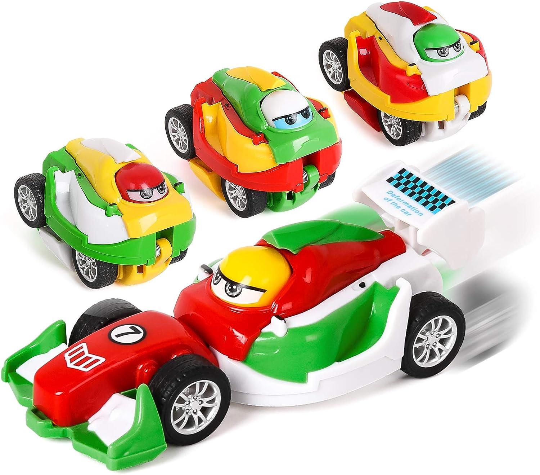 Shayson Mini Vehicles Pull Back Cars Juguete Educativo 4 Paquetes Pull Back Toys Deformación De Coche Portátil Juguetes De Coche Los Mejores Regalos para Niños De 3 a 8 Años De Edad