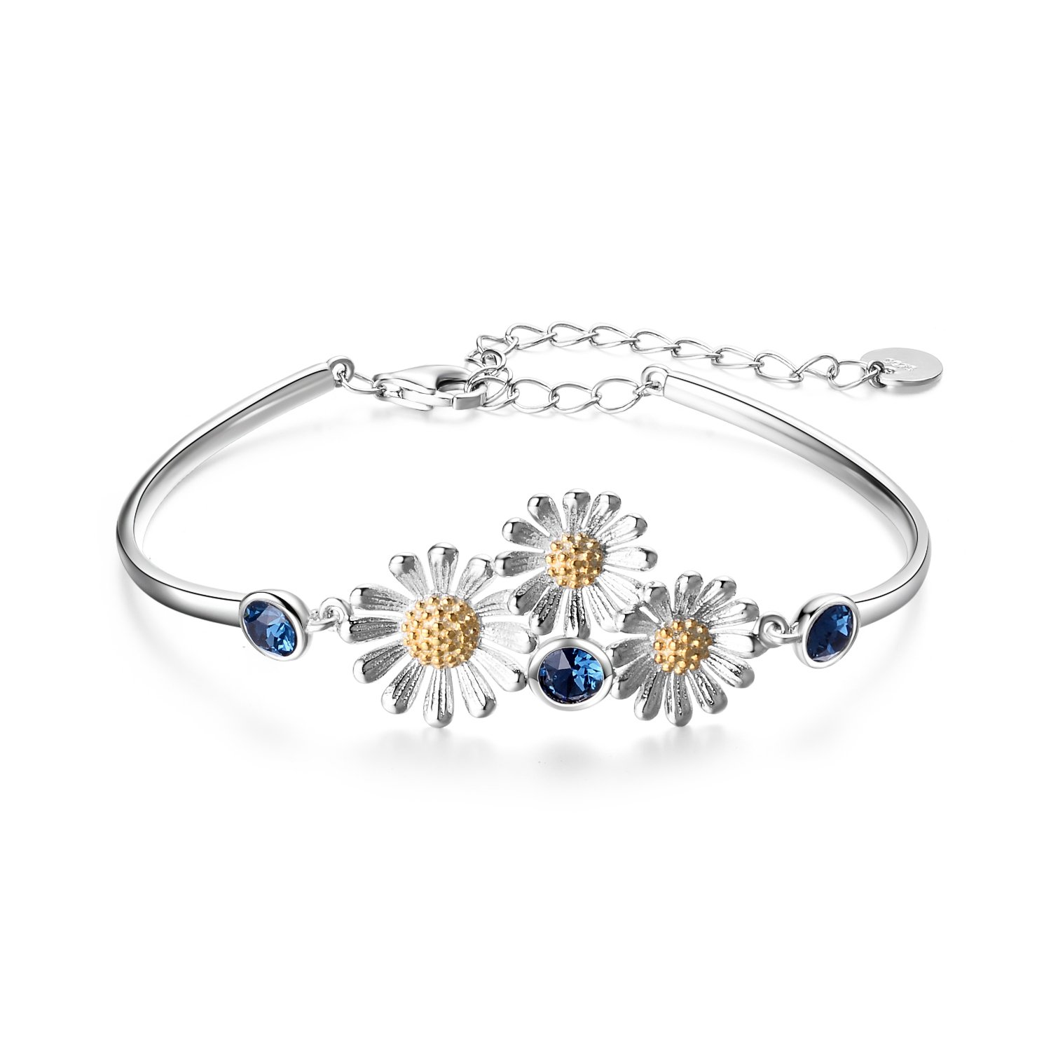 YAFEINI 925 Sterling Silver Daisy Sunflower Charm Flower Bracelet Best Gifts for Women and Girls by YAFEINI