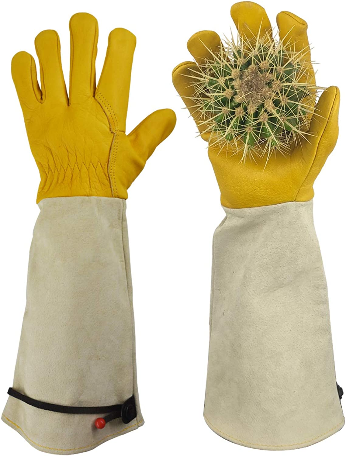 GLOSAV Gardening Gloves, Professional Puncture Proof Gloves for Rose Pruning & Cactus Trimming, Long Leather Garden Gloves Gifts for Women & Men- Full Grain Cowhide & Pigskin (Thorn Proof) (Small)