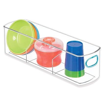 InterDesign IDjr Caja de almacenamiento con 3 divisiones para armario o despensa, caja de plástico