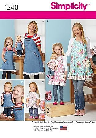 Simplicity 1240 Größe Eine Schürzen für Damen/Kinder und 18 Puppe ...