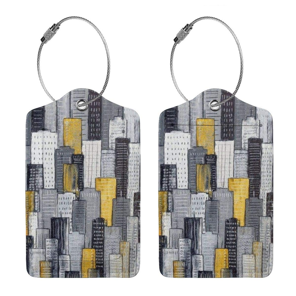 Watercolor Painting City2 Leather Luggage Tags Suitcase Tag Travel Bag Labels With Privacy Cover For Men Women 2 Pack 4 Pack
