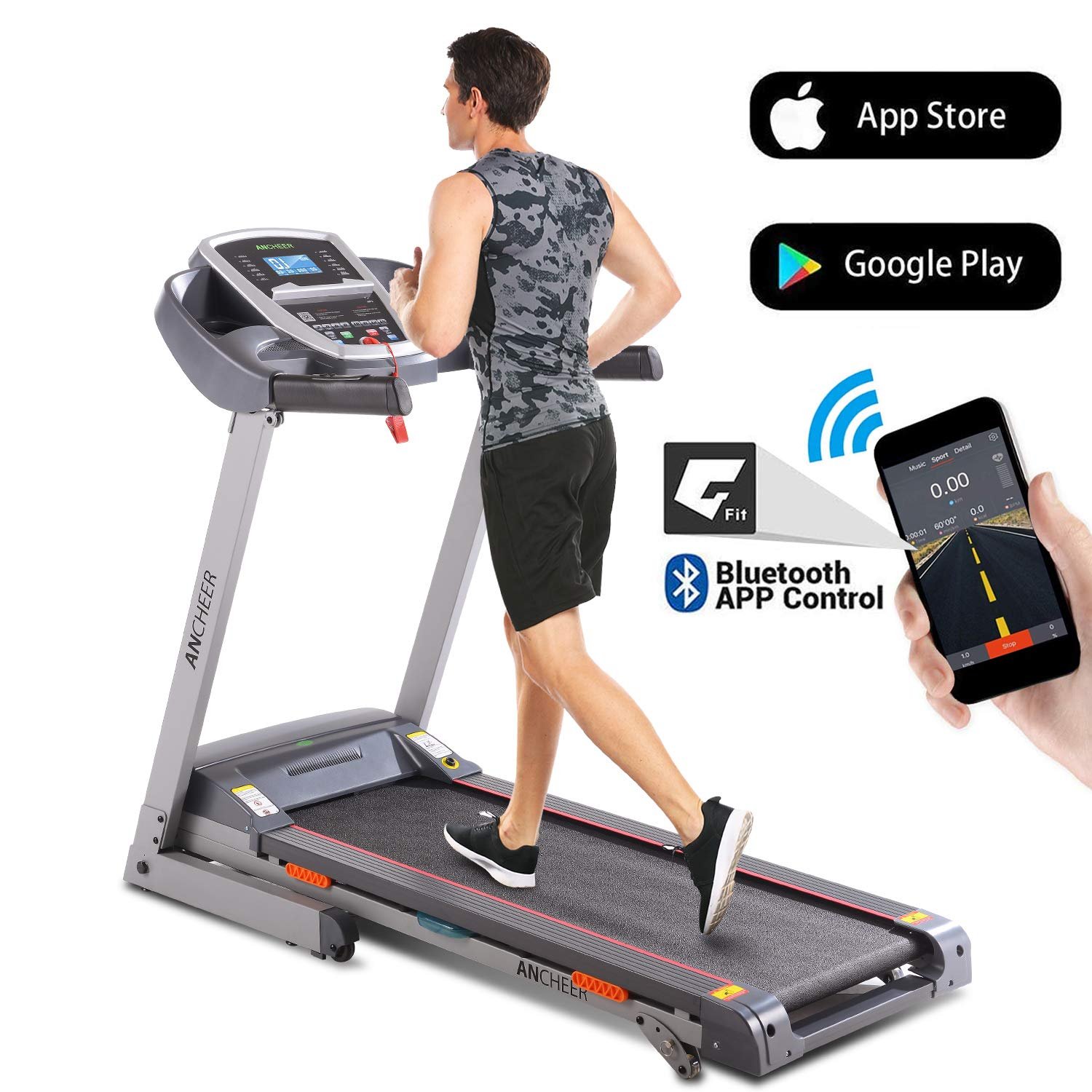 ANCHEER Folding Treadmill, 3.0HP Electric Treadmill with Bluetooth, LCD and Pulse Monitor, Motorized Running Machine with Smartphone APP Control for Home Office Gym Exercise (Gray, X-Large) by ANCHEER
