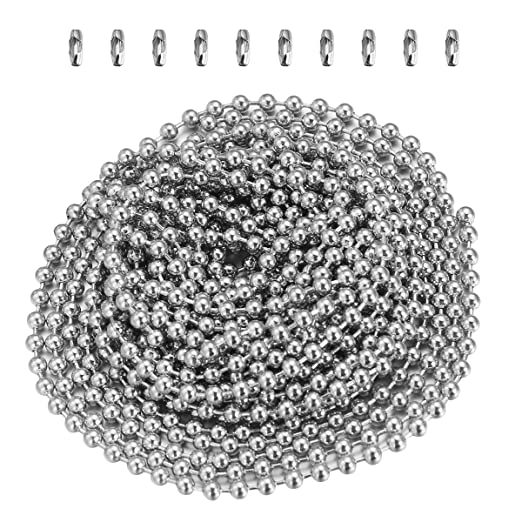 Yardwe Cadena de bolas de acero inoxidable de 2.4 mm Cadena de cordón de metal Extensión de la cadena con cuentas con conector a juego Cadena de ...