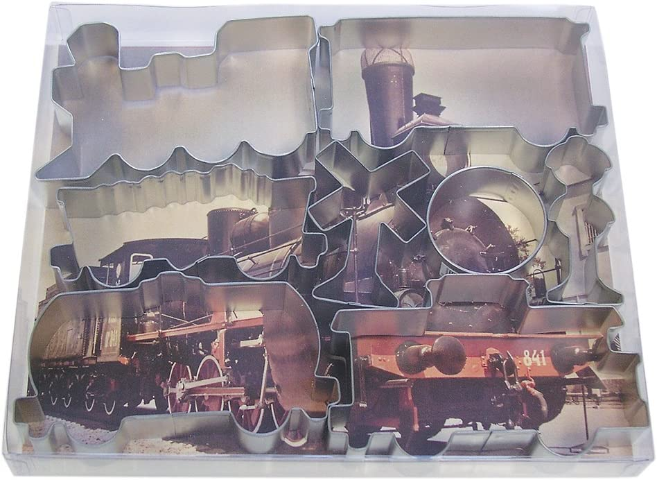 R&M International Train Cookie Cutters, Engine, Caboose, 3 Rail Cars and 3 Signs, 8-Piece Set