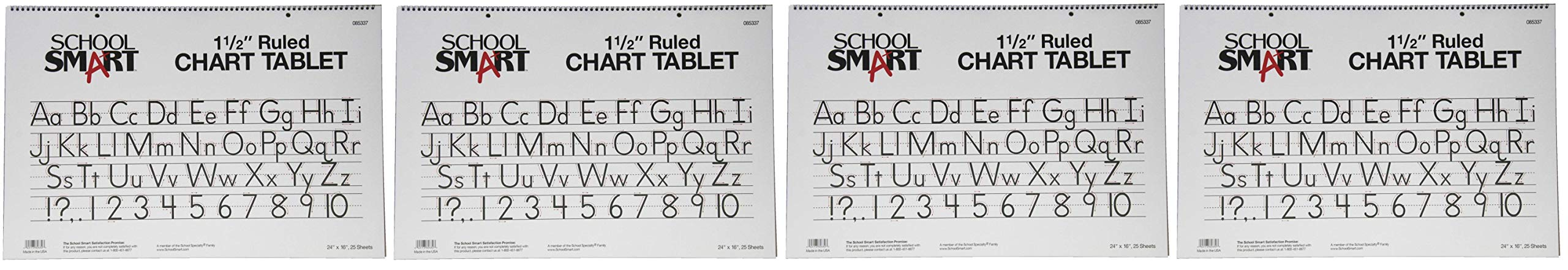 School Smart Chart Tablet, 24 x 16 Inches, 1-1/2 Inch Skip Line, 25 Sheets (Fоur Paсk)