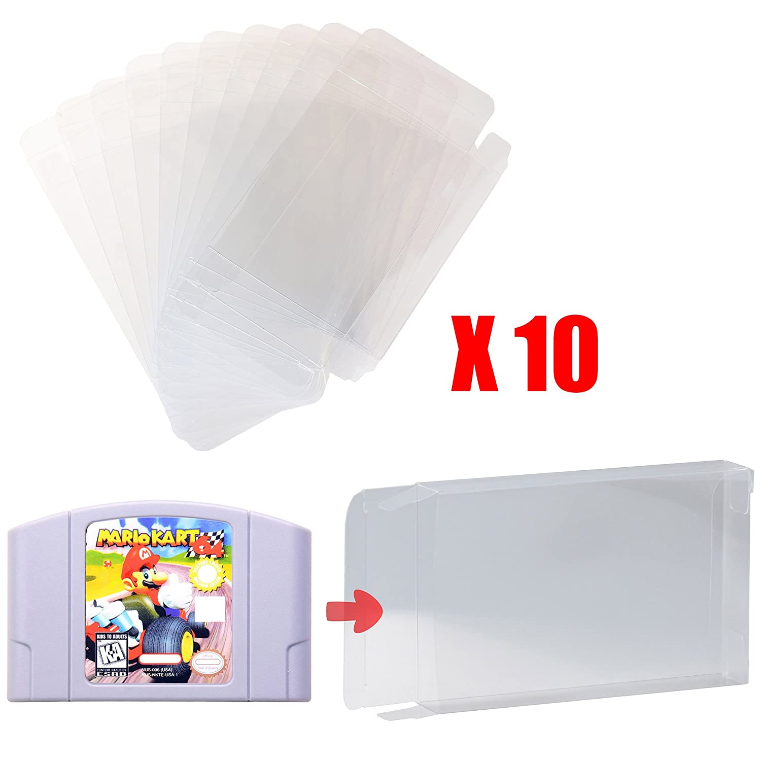 Mcbazel LOT 10 Clear Case Sleeve Protector for Nintendo N64 Games Cartridge (Set of 10)