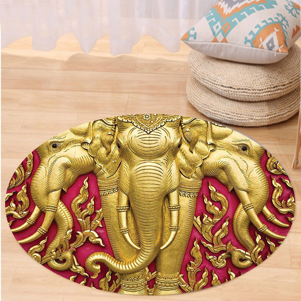 VROSELV Custom carpetElephants Decor Elephant Carved Gold Paint On Door Thai Temple Spirituality Statue Classic Bedroom Living Room Dorm Decor Round 72 inches