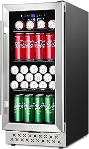 15 Inch Beverage Refrigerator Cooler Under Counter, 130 Can Beverage Fridge Built-in or Freestanding with Glass Door for Soda Beer Wine or Water, 37-64℉