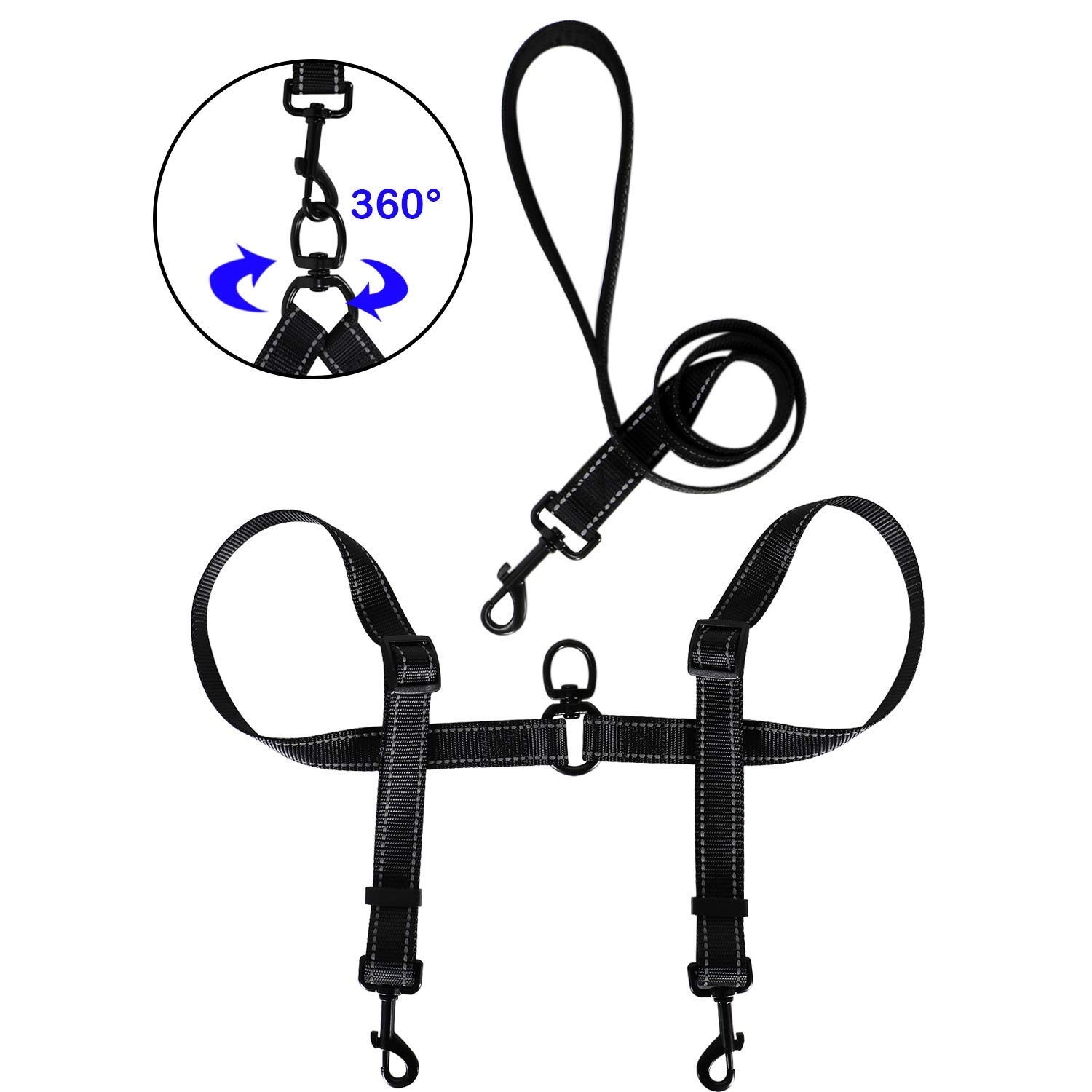 With handle,for 2 small (0-50lbs) dogs Tacobear Double Dog Leash for Two Dogs No Tangle Coupler Double Dog Dual Adjustable Splitter Lead Trainer Leash for Small Medium Large Dogs (with Handle,for 2 Small (0-50lbs) Dogs)