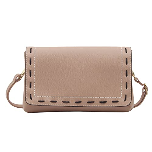 586ebec6cb1e Brown Hand Stitching Flap Cross Body Purse Bag Faux Leather Small Handbag  Wristlet for Women (