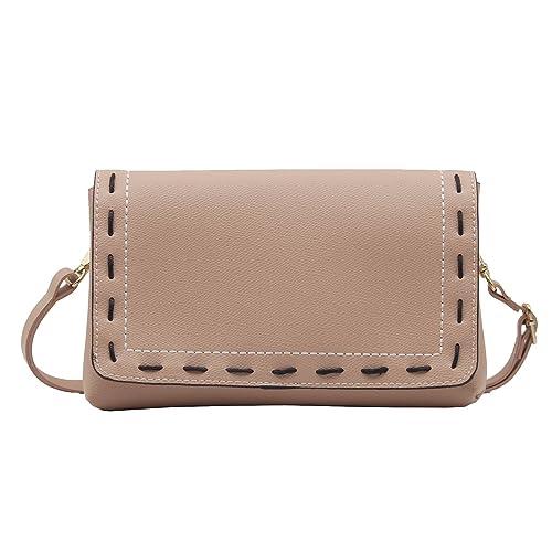 ea82473494c2d Brown Hand Stitching Flap Cross Body Purse Bag Faux Leather Small Handbag  Wristlet for Women (