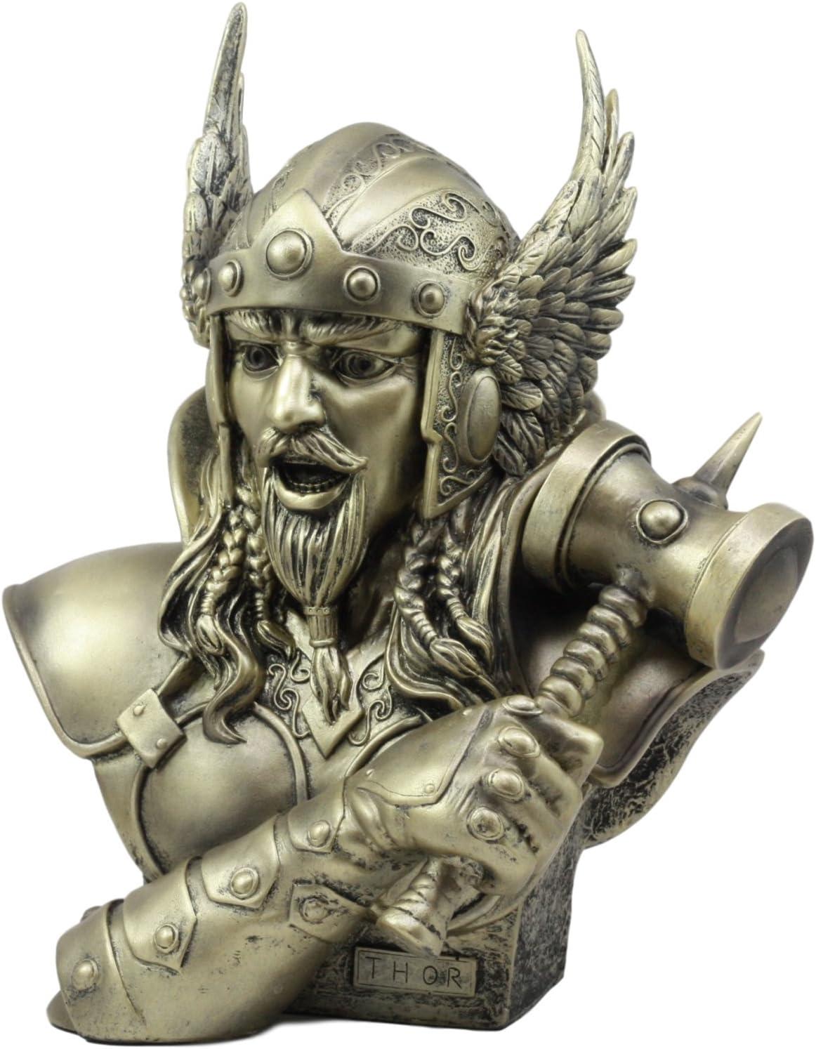Amazon Com Ebros Large Thor Odinson Wielding Mjolnir Hammer Bust Statue 11 Tall Norse Mythology God Of Thunder Lightning Mjolnir Hammer Donar Son Of Odin Asgard Ruler Home Kitchen
