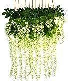 Bird Fiy, decorazione per matrimoni, fiori sospesi in seta artificiale, modello glicine, 12 pezzi da 1,10 m White