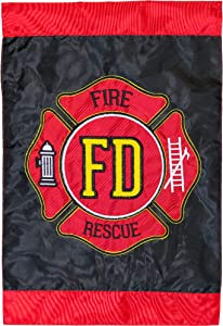 """Briarwood Lane Fire Department Applique & Embroidered Garden Flag Emergency Service 12.5"""" x 18"""""""