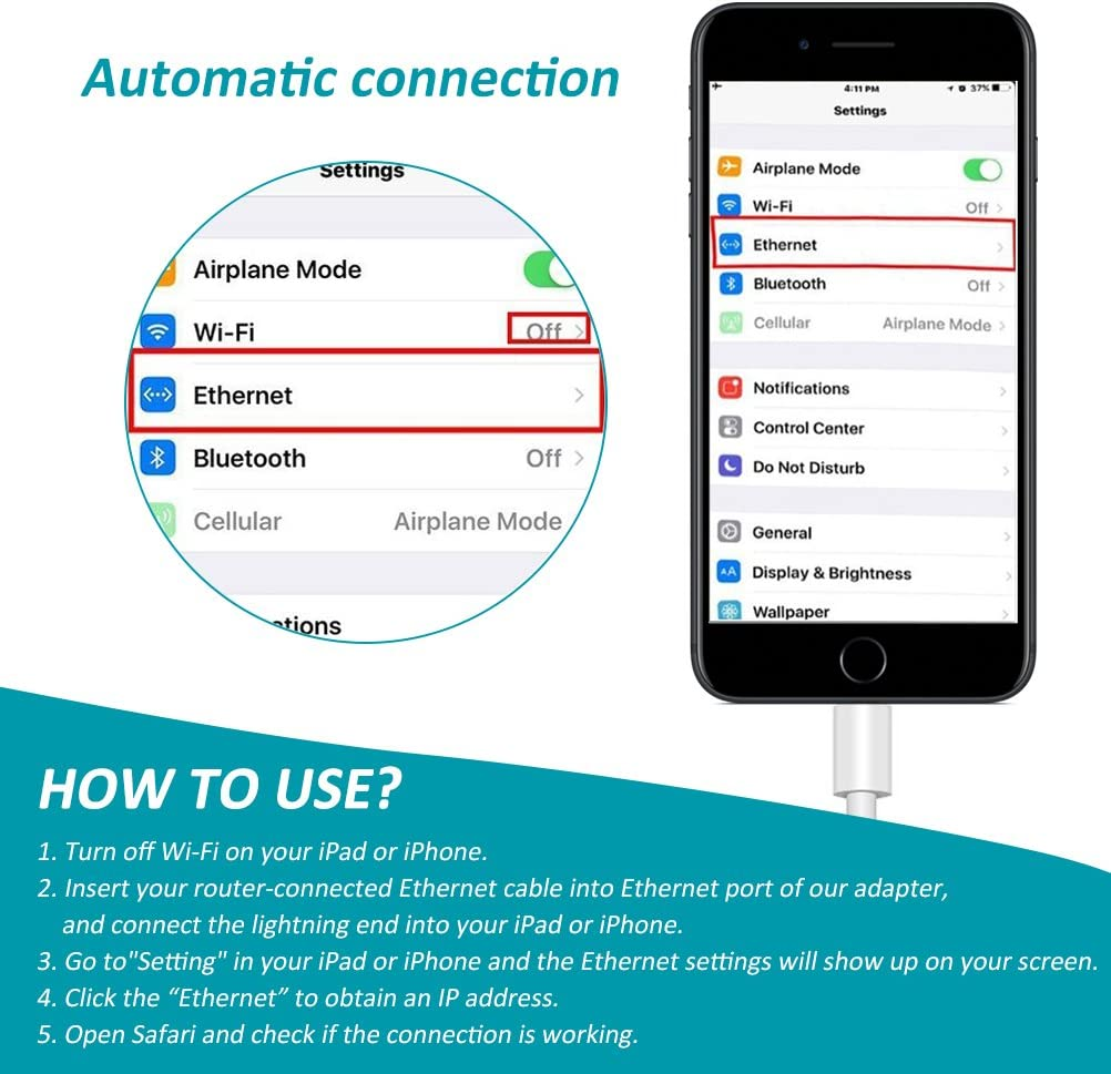 System Required iOS 10.0 or Up 10//100Mbps High Speed Phone Ethernet Adapter 3.3ft//1m Cable Amatage Lighting to RJ45 Ethernet LAN Network Adapter for Phone//Pad