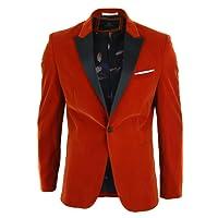 Mens Velvet Red Black Tailored Fit Blazer Smart Casual Tuxedo Dinner Jacket