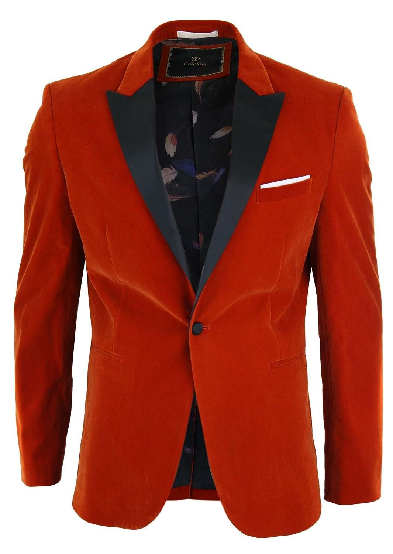 Cavani Mens Velvet Red Black Tailored Fit Blazer Smart Casual Tuxedo Dinner Jacket
