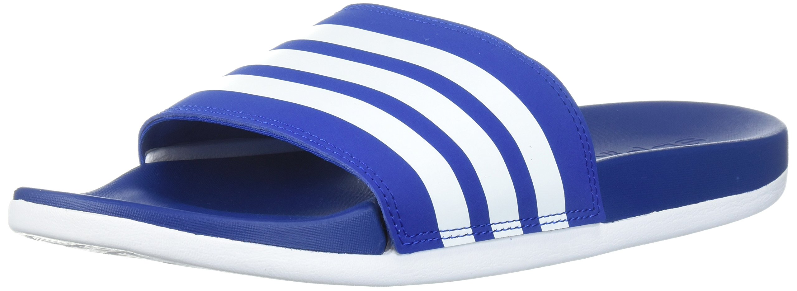 adidas Men's Adilette Comfort Slide Sandal White/Collegiate Royal, 4 M US