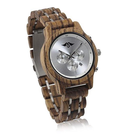 Angie Wood Creations Reloj de madera para mujer con pulsera de madera y subesferas: Amazon.es: Relojes
