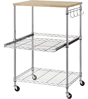 Finnhomy 3 Tier Wire Rolling Kitchen Cart, Food Service Cart, Microwave  Stand,