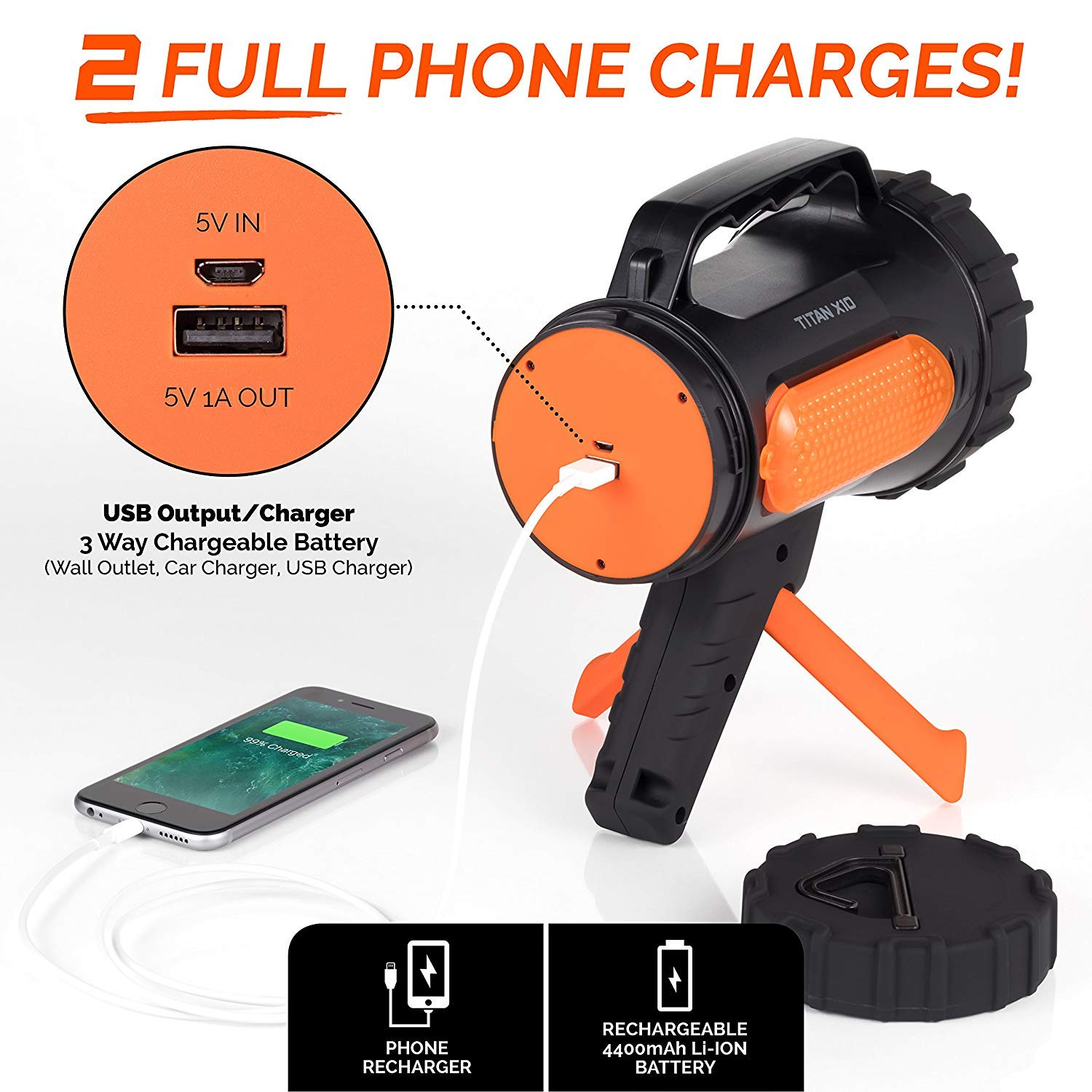 Rugged Camp Titan X10 Rechargeable Spotlight - 1000 Lumens - High Powered 10W LED Bright Flashlight - Work Light & Tripod - Perfect for Camping, Hiking, Hunting, Emergencies & Outdoors (Black/Orange) by Rugged Camp (Image #3)