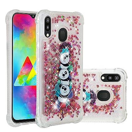 Abuenora Funda Antigolpes para Samsung Galaxy M20 Carcasa Transparente con Líquido Agua Purpurina Lentejuelas Silicona TPU Case Dibujo Pandas