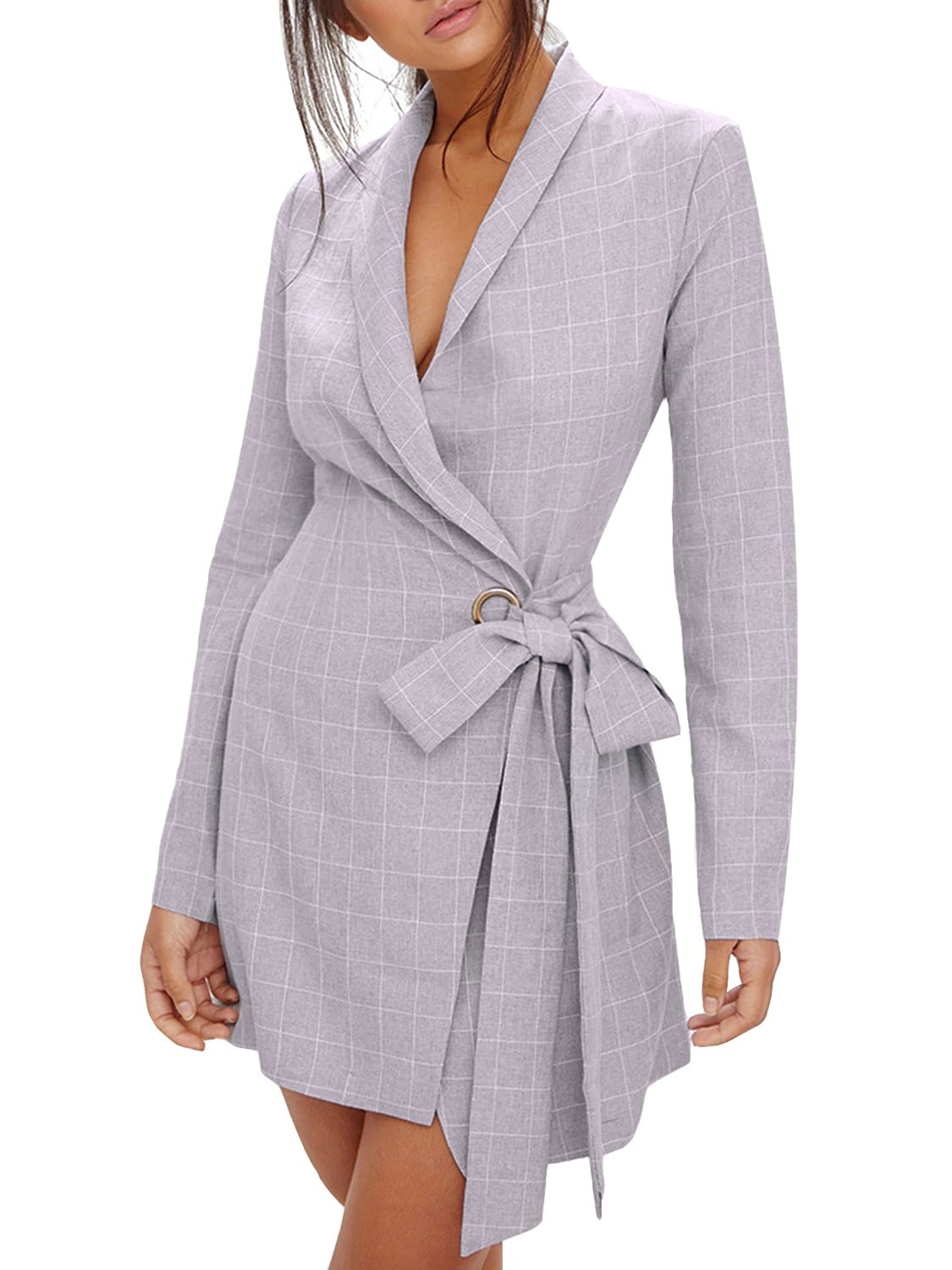 D Jill Women's Casual Open Front Long Sleeve Lapel Blazer Jacket with Belt Gray