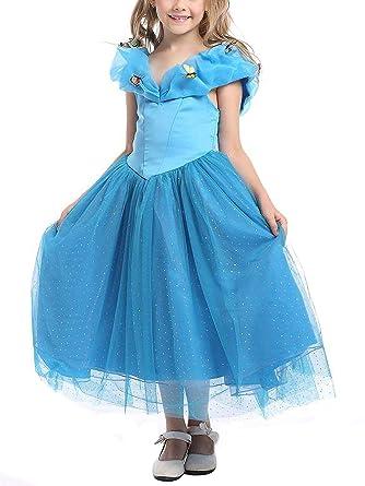f26cb5985ed3f Eleasica Fille Robe de Princesse Cendrillon Costume pour Enfants Manches  Courtes Bouffante Papillon Robe Longue Déguisements