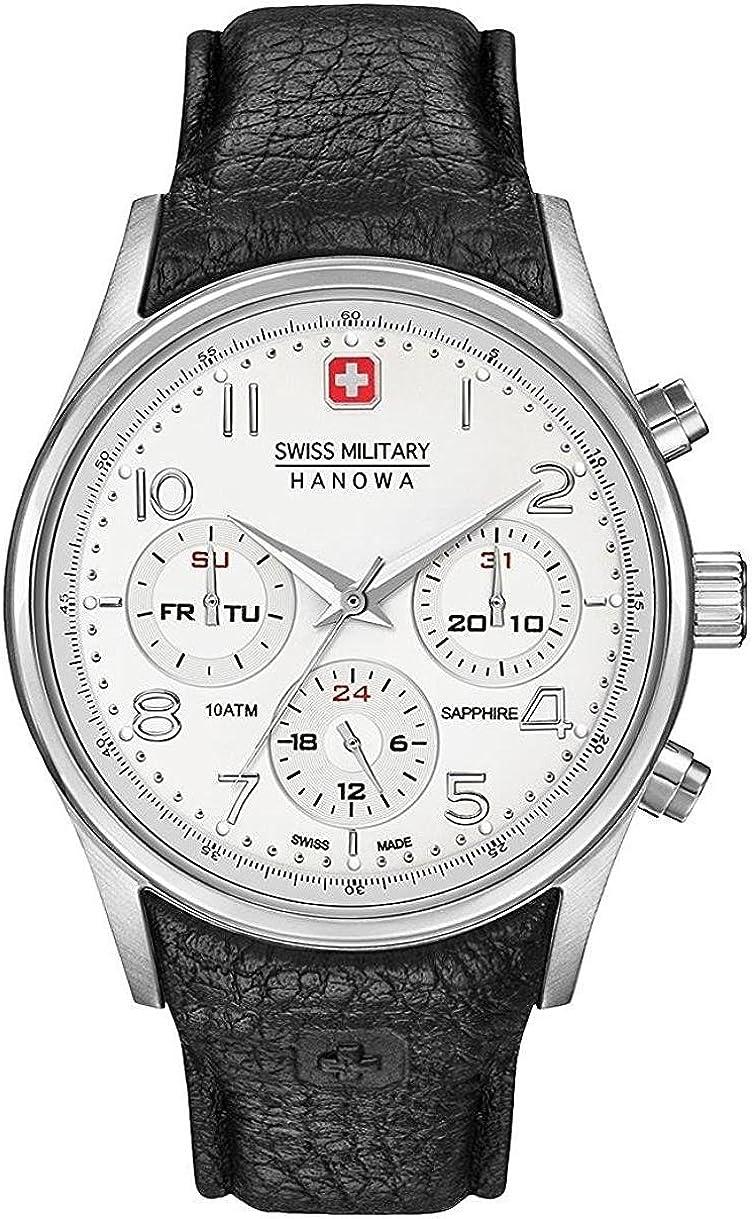 Swiss Military Hanowa Reloj Analógico para Hombre de Cuarzo con Correa en Cuero 06-4278.04.001.07