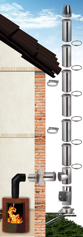 /Ø 130mm, 3,2m Edelstahlschornstein Bausatz Doppelwandiger Schornstein aus hochwertigem Edelstahl in allen L/ängen und Durchmessern