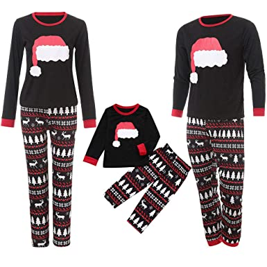 664f714dcd Amazon.com  Family Matching Pajamas Sets Christmas Pajamas Outfit Cartoon  Hat Print Holiday Clothes PJ Sets Mom Dad Kids Sleepwear  Clothing