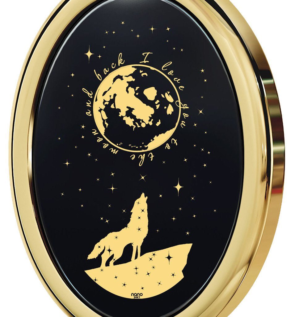 Gold Plated I Love You to the Moon and Back Necklace Wolf Pendant Gold Inscribed Onyx, 18'' Gold Filled by Nano Jewelry (Image #3)