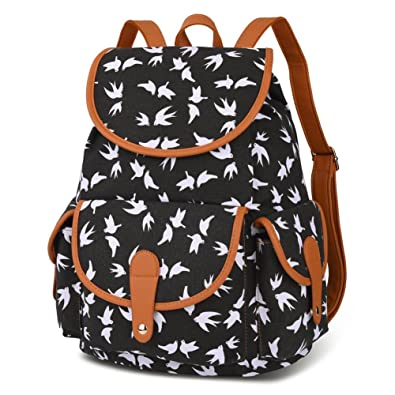 Vbiger Canvas Backpack For Women Girls Boys Casual Book Bag Sports Daypack Bird Black