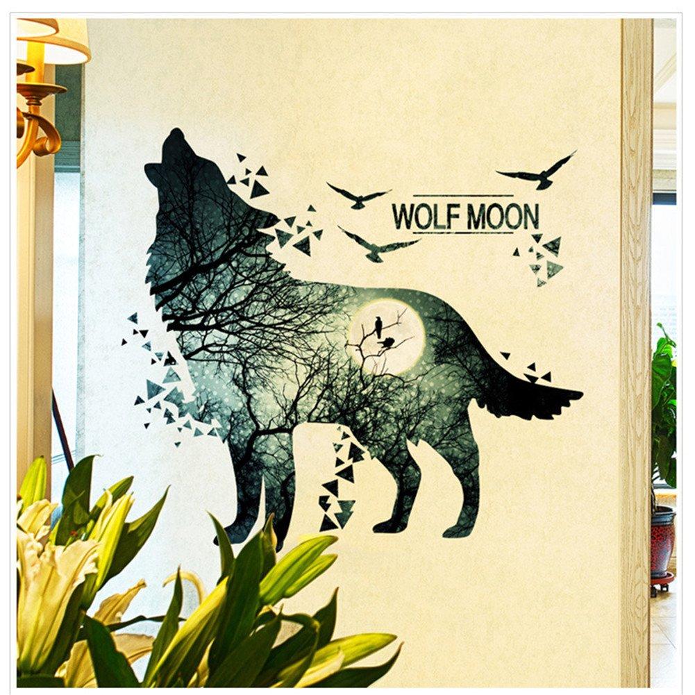 Amazon.com: Mexidi Wolf Moon Wall Decal Sticker Art Decor Decal Home ...