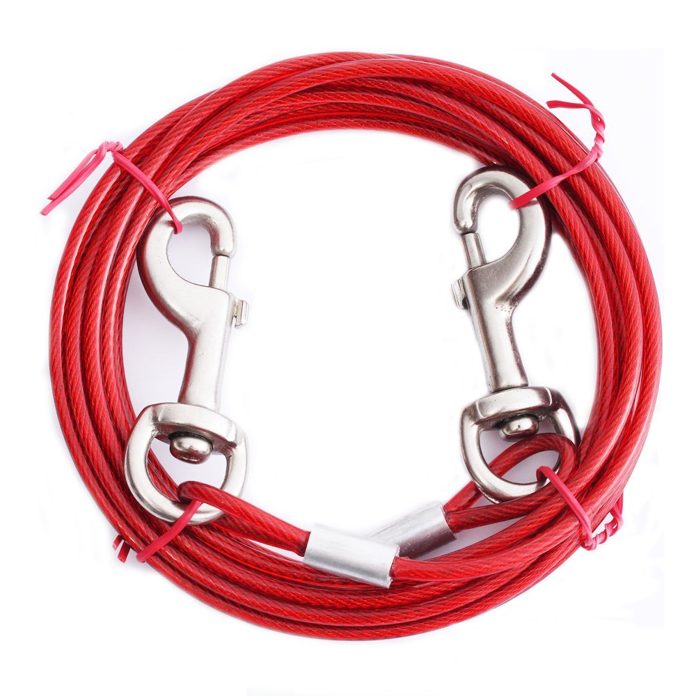 ASOCEA Pet Reflective 16ft Tie Out Cable for Small Medium Size Dogs up to 65 Pounds Outdoor Yard and Camping