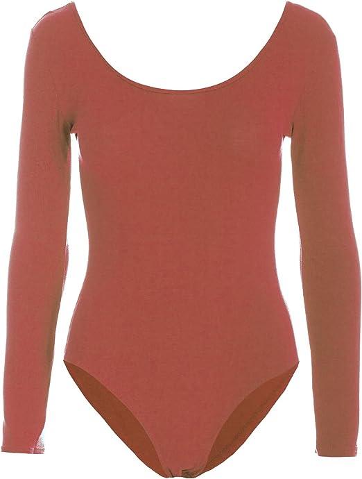 Women Ladies Long Sleeve Red//Green Stripe Scoop Neck Leotard Top Ladies Bodysuit