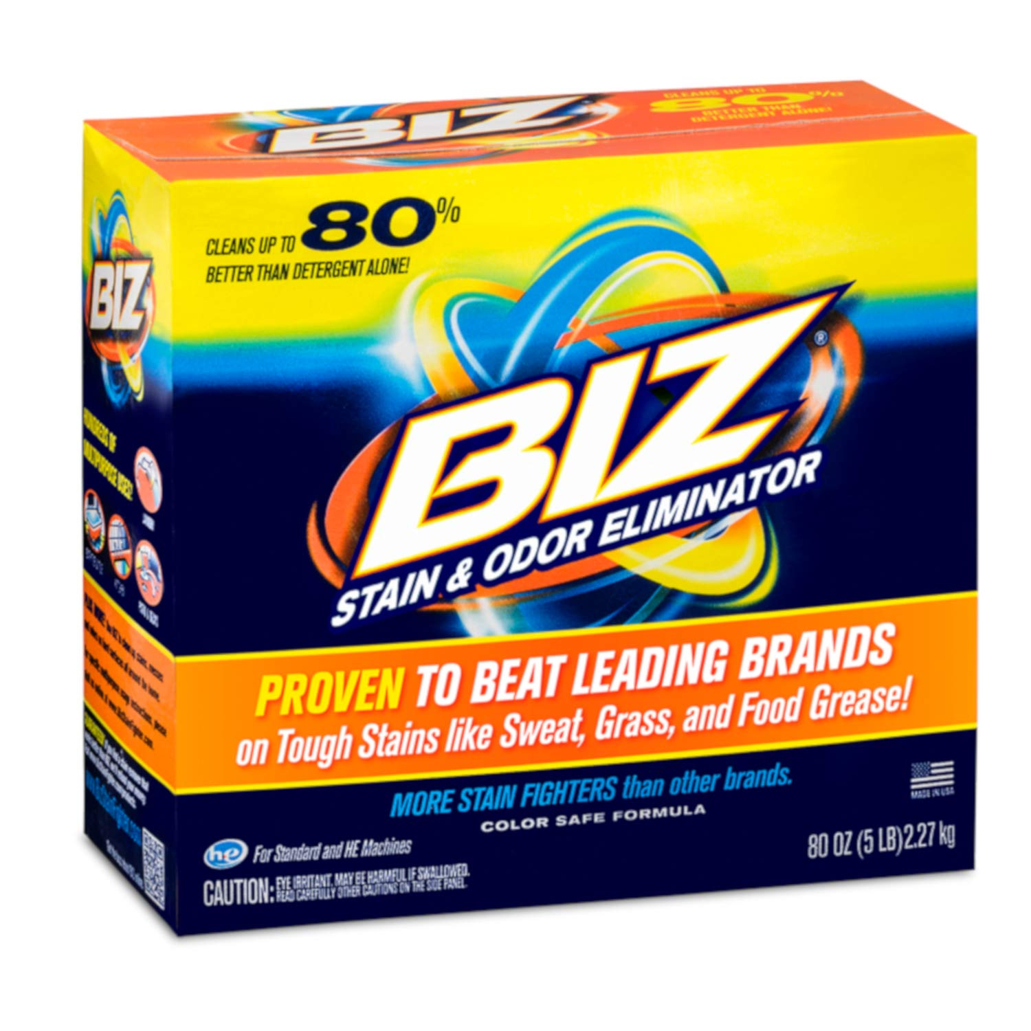 Biz Laundry Detergent Powder Booster, Stain & Odor Removal - 4-Pack, 80 Ounce Boxes by BIZ