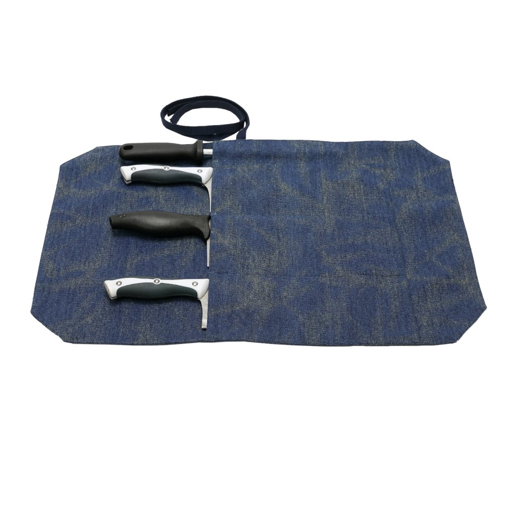 A Chef's Knife Roll Bag - Portable Travel Chef Knife Case Carrier Storage Bag with 4 Slots Best Gift For Pro Chef or Culinary Enthusiasts Men Women HGJ03-P (Navy)