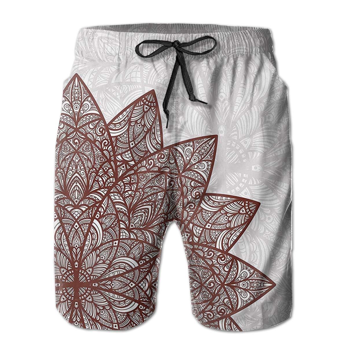 Bilybily Arabesque Floral Figure Mandala Mens Swim Trunks Quick Dry Board Shorts with Pockets Summer Beach Shorts
