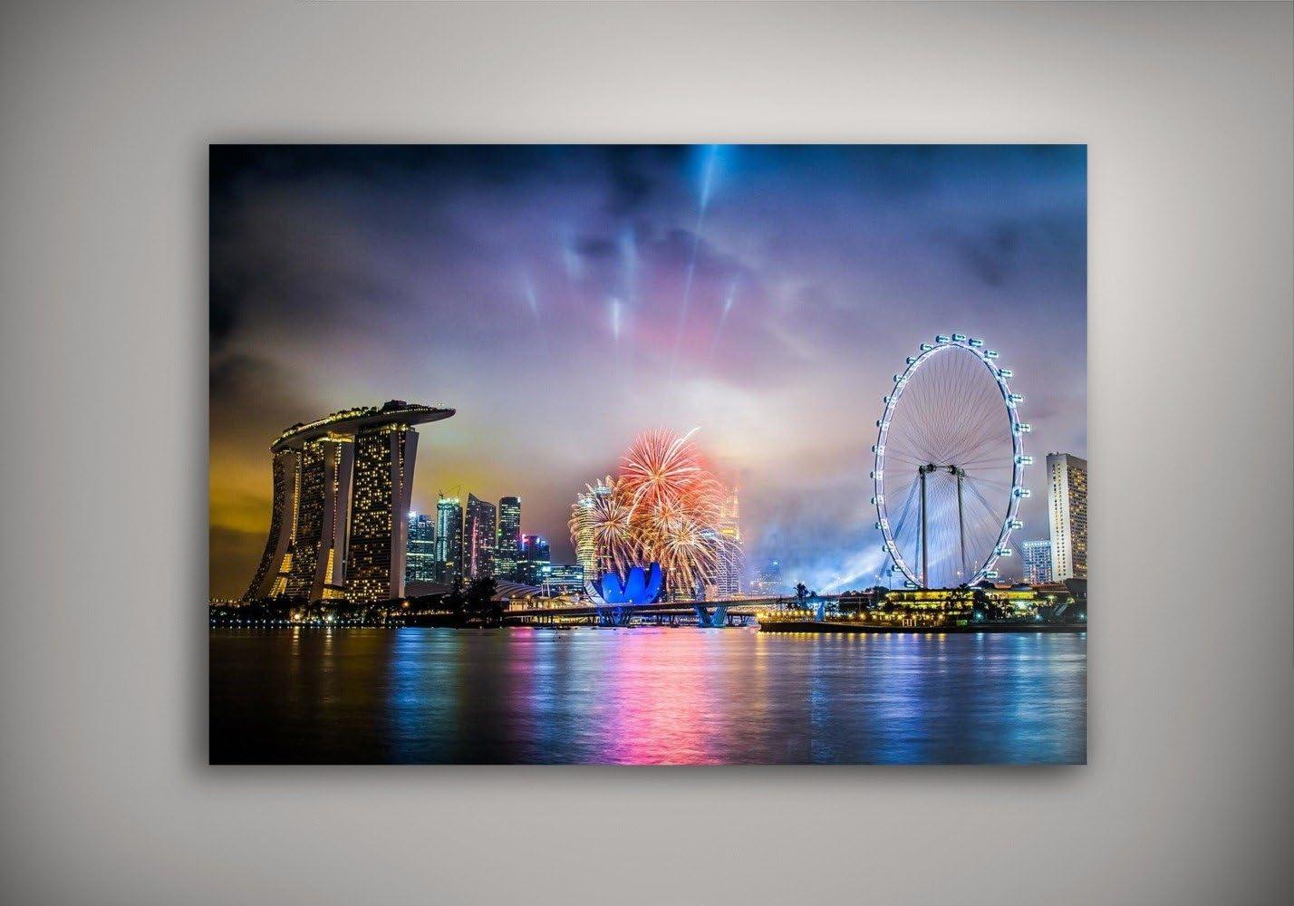 Feux dartifice /à Singapour Villes 047 Poster Auto-adh/ésif en Vinyle Affiche Plastifi/ée Murale Pop-Art D/écoration Int/érieure avec Dessin Color/é Grandeur: 8.5 x 11-22 x 28 cm
