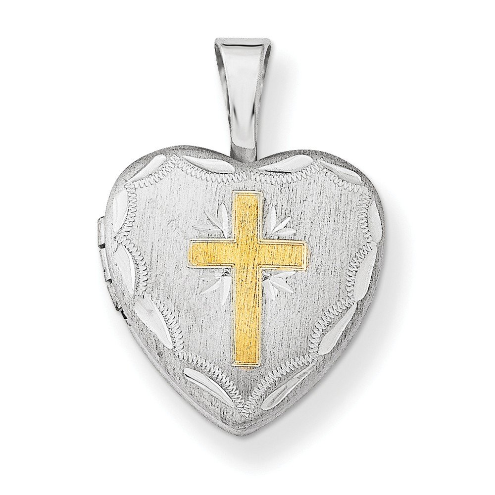 Jewel Tie Sterling Silver Gold-Toned Cross with Scallop Border 12mm Hea