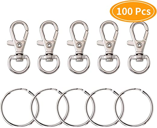 10x Metal Lanyard Hook Swivel Snap Lobster Clasps Clips Findings Crafts Keychain