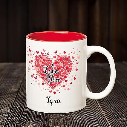 Huppme I Love You Iqra Personalized Inner Red Name Mug