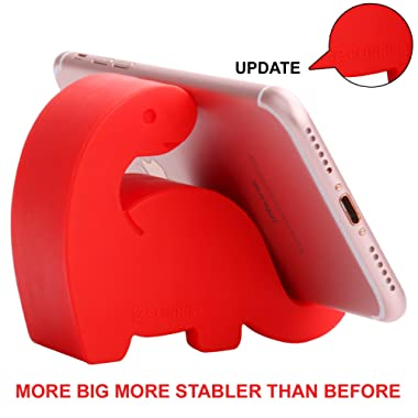 Plinrise Animal Desk Phone Stand, Update Dinosaur Stripe Silicone Office Phone Holder, Creative Phone Tablet Stand Mounts, Size:1.3  X 3.1  X 2.8 (Red)