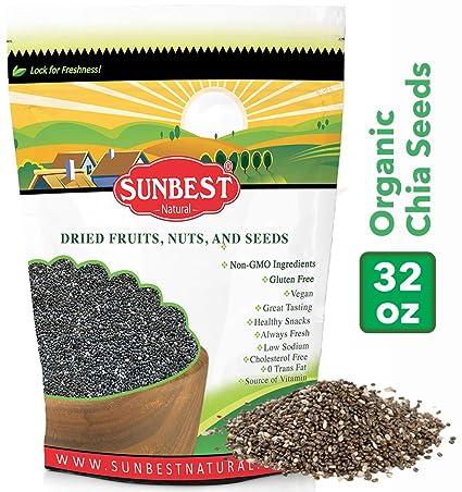 SUNBEST - Semillas de chia orgánicas negras con bolsa ...