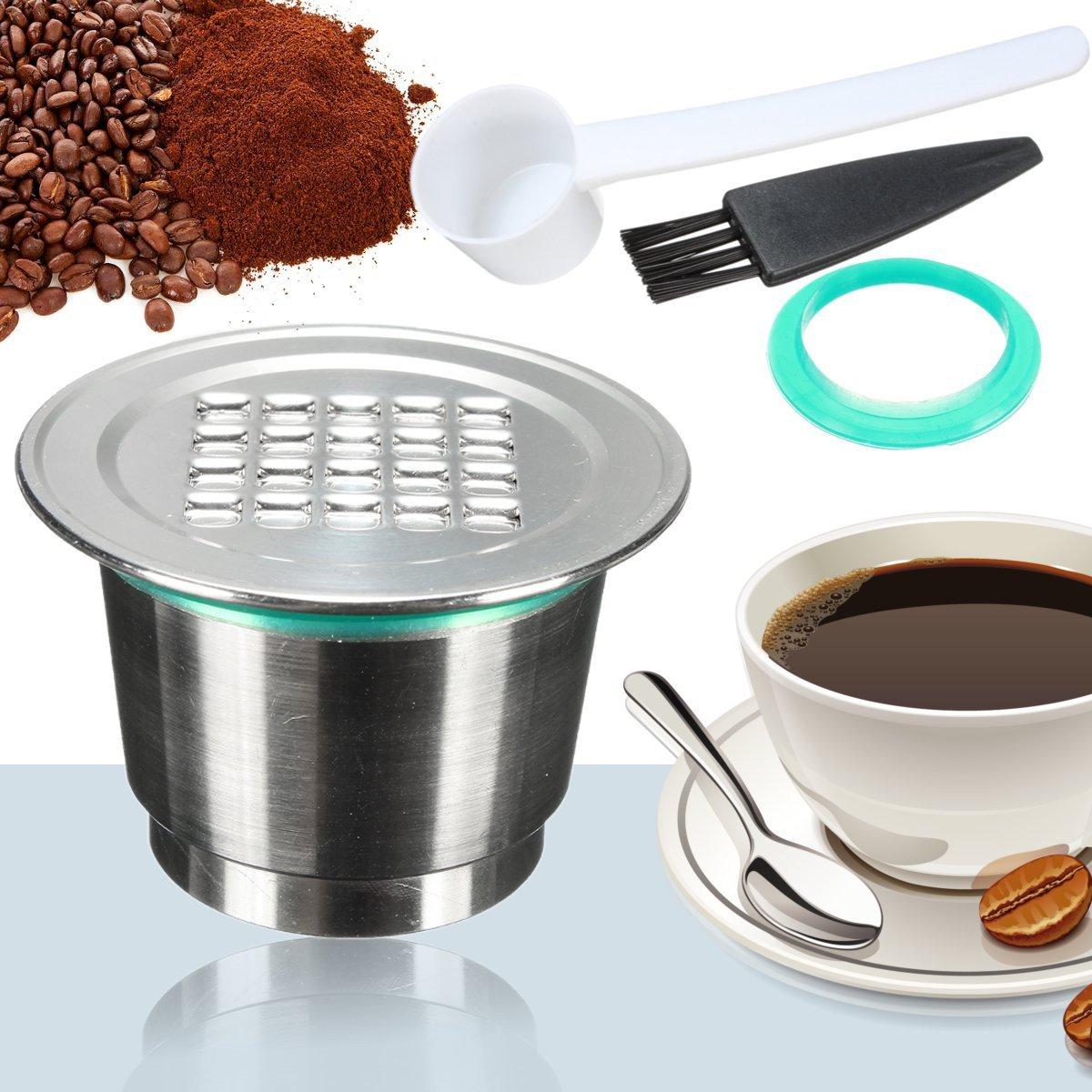 QOJA 2 generation stainless steel coffee refillable capsule+spoon+brush