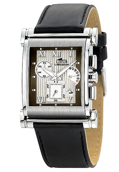 Lotus Andorra 9943-1 - Reloj cronógrafo de caballero de cuarzo con correa de piel negra: Amazon.es: Relojes