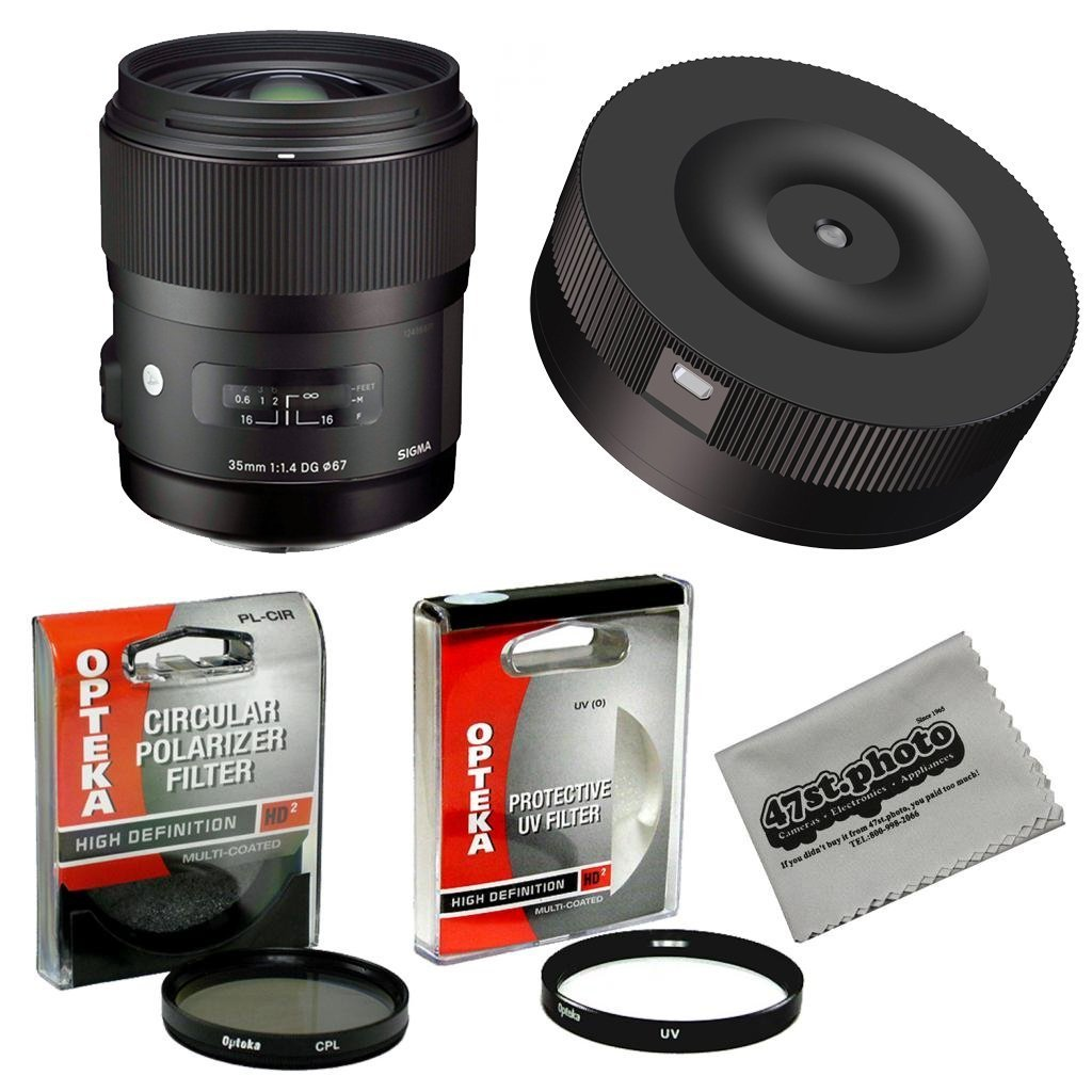 Sigma 35mm F1.4 DG HSM Lens with USB Firmware Lens Dock Kit for Canon and Opteka High Definition HD II UV & CPL Filter Accessory Set
