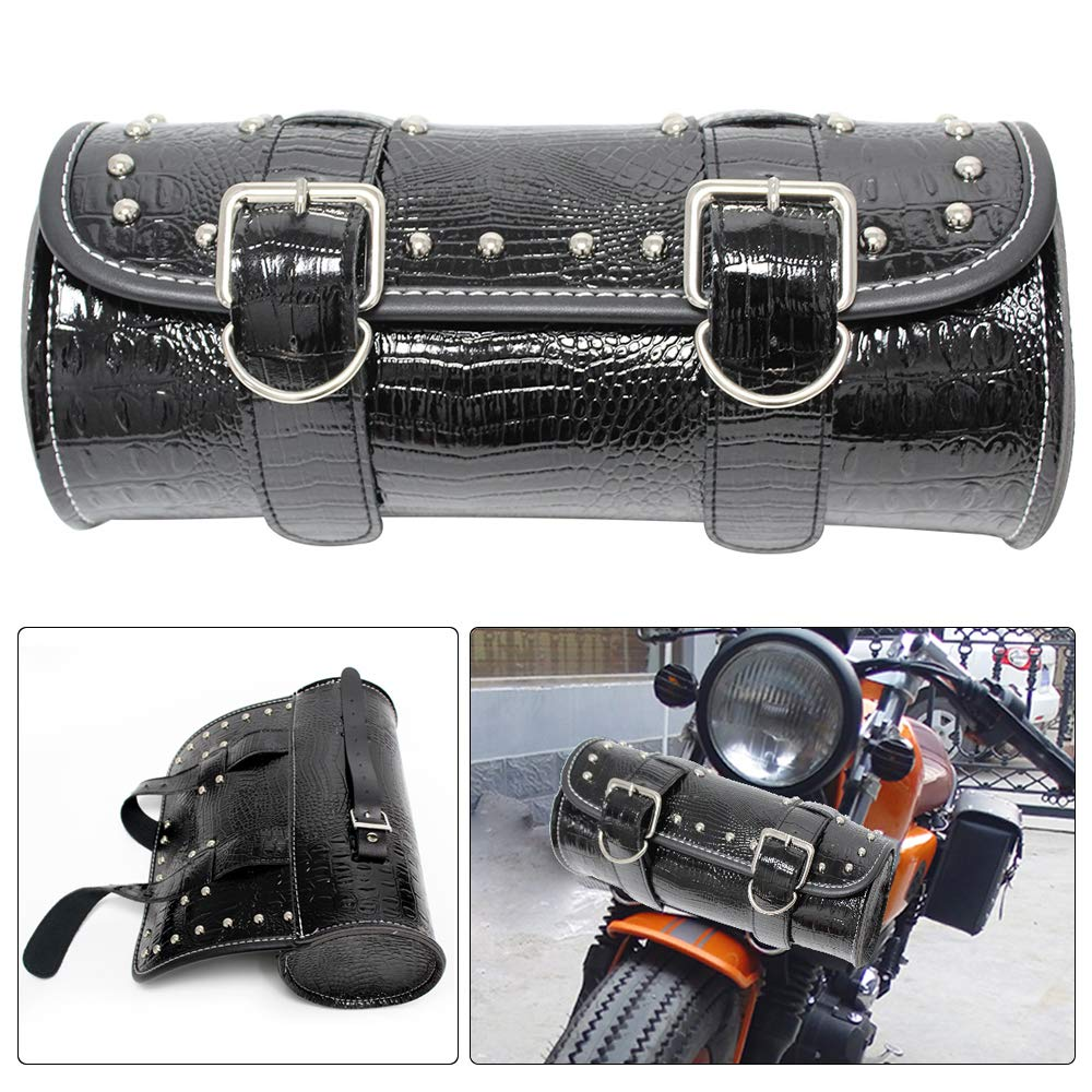 Black 2 KYN Motorcycle Handlebar Bag Sissy Bar Side Tool Bag Front Fork Roll Barrel Bag for Harley Sportster Softail Dyna Bag